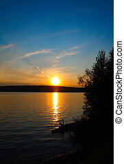 napnyugta, tó, táj