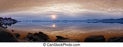 napnyugta, tó tahoe