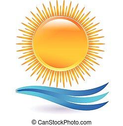 napnyugta, vektor, tengerpart, jel