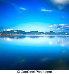 napnyugta, versilia, water., blue tó, ég, toszkána, visszaverődés