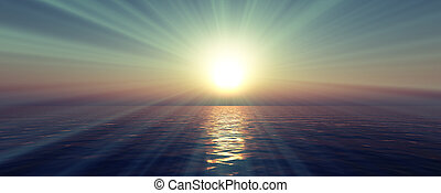 napnyugta, világos, sky., 3, vakolás, fénysugár, nap, tenger