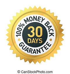napok, pénz, 30, hát, címke, garantál