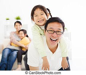 nappali, család, boldog