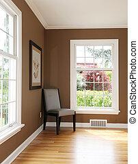 nappali, windows., két, sarok, szék