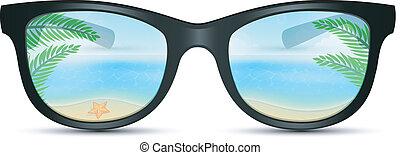 napszemüveg, nyár, tengerpart, visszaverődés