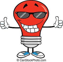 napszemüveg, piros, gumó, fény
