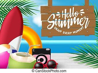 napszemüveg, vektor, kókuszdió, nyár, labda, bizottság, lé, ünnep, erdő, season., fényképezőgép, tengerpart, zöld, szia, design., háttér, úszó fatörzs, szeret, hullámtörés, pálma, szöveg, elem, felakaszt