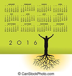 naptár, 2016, gyökér, ember