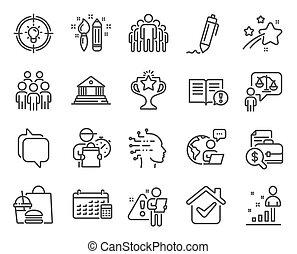 naptár, emberek, csoport, set., ikonok, vektor, ikon, signs., included, oktatás, ügyvéd