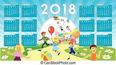 naptár, gyerekek, 2018