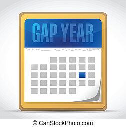 naptár, hézag, tervezés, ábra, év