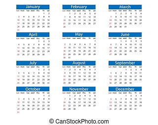 naptár, vektor, sunday., hét, design., 2021, ábra, lakás, felriaszt