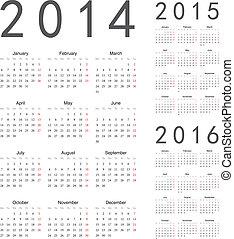 naptárak, vektor, év, 2016, 2015, 2014, európai