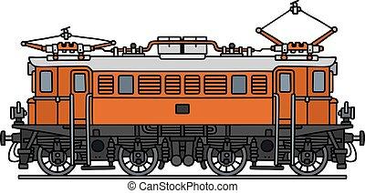 narancs, öreg, elektromos, lokomotív