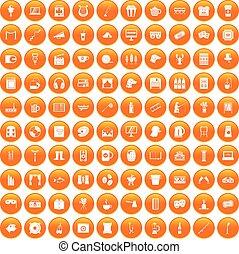 narancs, 100, állhatatos, szabad, ikonok