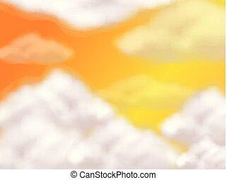 narancs, elhomályosul, bolyhos, ég