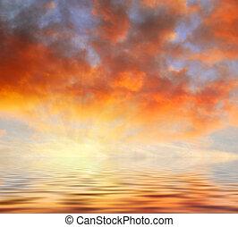 narancs, elhomályosul, napnyugta, felül, víz