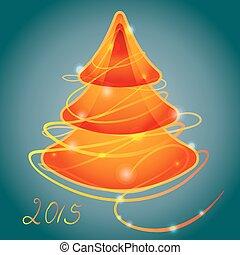 narancs, fénylő, fa, karácsony