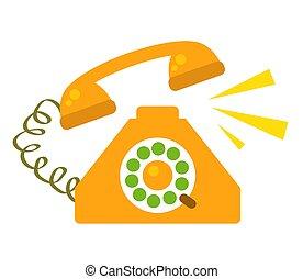 narancs, háttér., fehér, telefon, retro