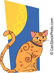 narancs, kép, ablak., macska
