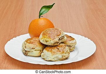narancs, kéreg, disznóhús, süti