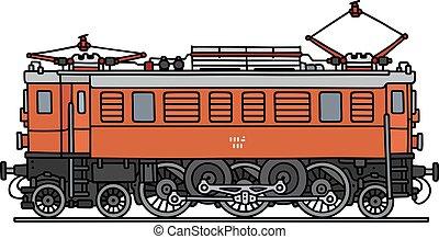 narancs, klasszikus, elektromos, lokomotív