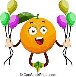 narancs, léggömb, fehér, ábra, vektor, háttér.