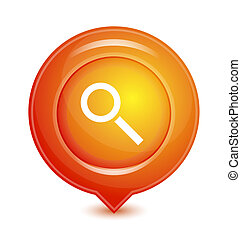 narancs, mutató, ikon, vektor, elhelyezés