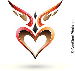 narancs, szeret, vektor, szárnyas, árnyék, szív, madár, ábra, piros