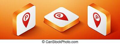 narancs, térkép, isometric, elszigetelt, derékszögben, mutató, ikon, háttér., button., vektor, várakozás, autó