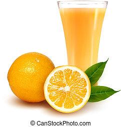 narancslé, friss, pohár