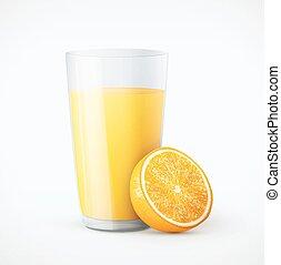 narancslé, gyümölcs, pohár