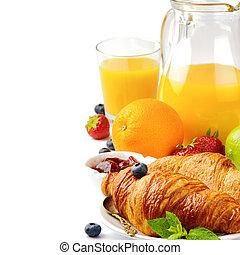narancslé, reggeli, friss, kiflik