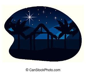nativity táj, karikatúra, karácsony