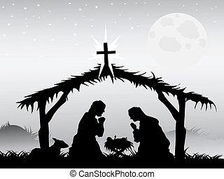nativity táj, vektor