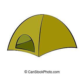 nature., sátor, jelkép., fehér, természetjáró, maradék, háttér., vektor