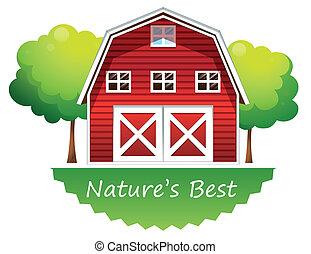 nature's, barnhouse, piros, legjobb, címke
