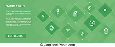 navigáció, ikonok, transzparens, gps, térkép, concept., irány, elhelyezés, 10