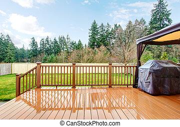 nedves, grill, udvar, fence., fedélzet