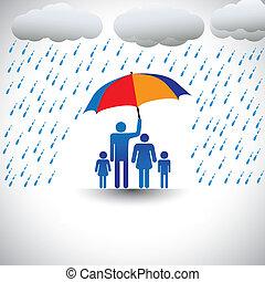 nehéz, őt előad, umbrella., esernyő, színes, család, &, szeret, grafikus, atya, eső, beleértve, feleség, children(concept, övé, etc), birtok, törődik, oltalmaz, fedő
