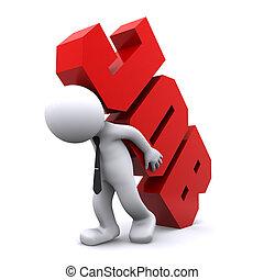 nehéz, cégtábla., munka, szállítás, overworking, ember, concept., 3