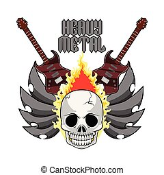 nehéz, elektromos, koponya, fém, gitárok, transzparens