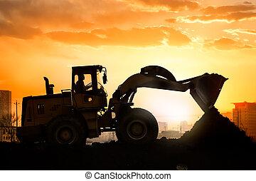 nehéz, gördít, kubikos, dolgozó, gép, napnyugta