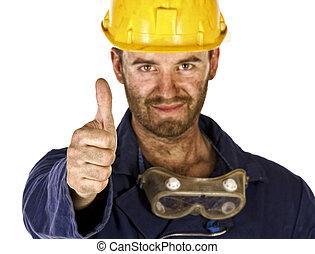 nehéz, iparág, tröszt, munkás