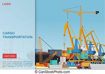nehéz, kereskedelem, template., goods., rév, rakomány, berakodás nyújtogat, tengeri kikötő, tároló, lakás, szállítás, társaság, leszállás, átadó, dokk, dobozok, kereskedik, ship., vektor, csereüzlet, munkaszervezési, oldal