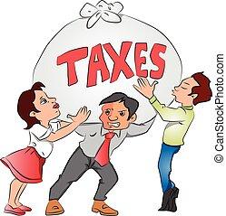 nehéz, tax., üzletasszony, kirúg, vektor, businessmen, birtok