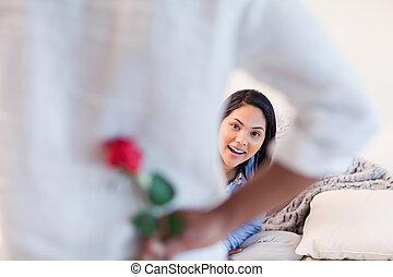neki, barát, körülbelül, női, rózsa, beszerez
