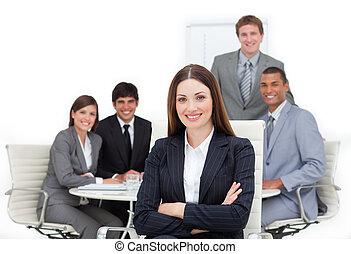 neki, befog, női végrehajtó, charismatic, elülső, ülés