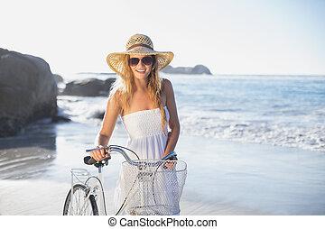 neki, bicikli, gyönyörű, mosolygós, sundress, tengerpart, szőke