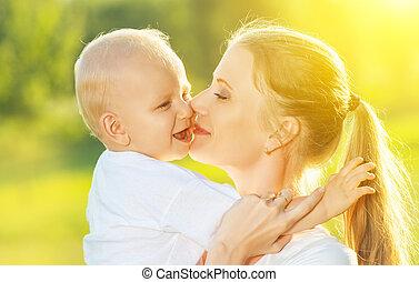 neki, család, anya, csecsemő, csókolózás, summer., boldog